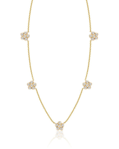 Five Small Diamond Flowers Necklace