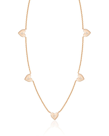 Five Gold Hearts with Five Diamonds Necklace