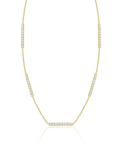 Five Horizontal Diamond Bars Necklace