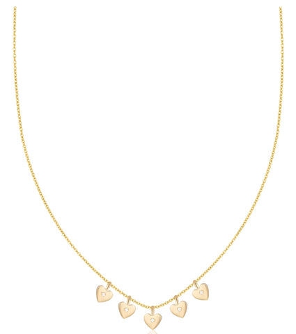 Five Dangle Hearts and Diamonds Necklace