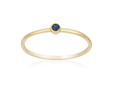 Yellow Gold Single Blue Sapphire Ring