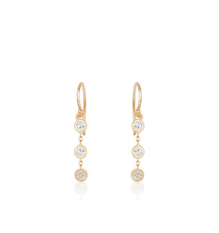 Two Diamonds and Disc Earrings