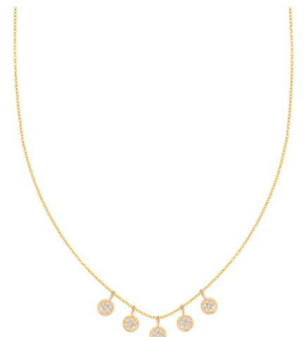 Five Dangle Diamond Discs Necklace