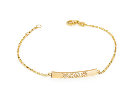 Small Bar Bracelet with Diamond XOXO