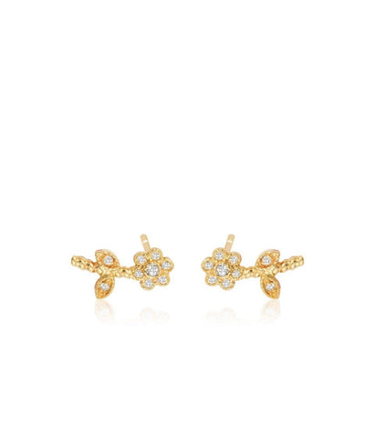 Small Diamond Flower Ear Climbers
