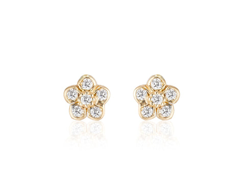 Small Diamond Flower Studs