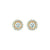 Solitaire Diamond with Pave Diamonds Stud Earrings