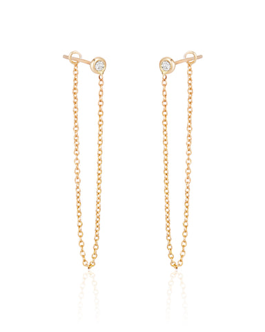 Chain Earrings with Diamonds