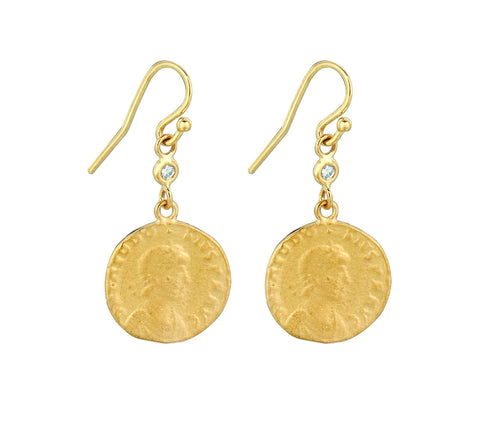 Small Coin and Diamond Earrings