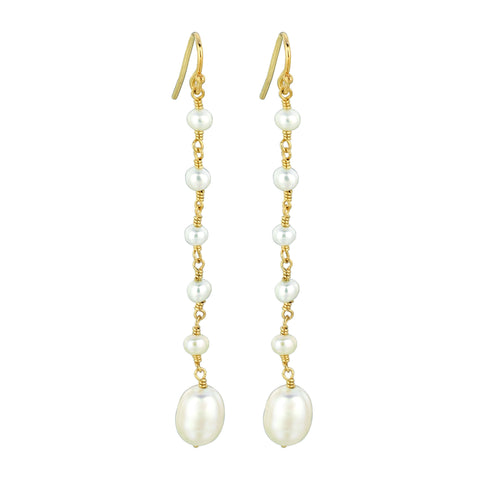 Long Hand Wrapped Pearl Earrings