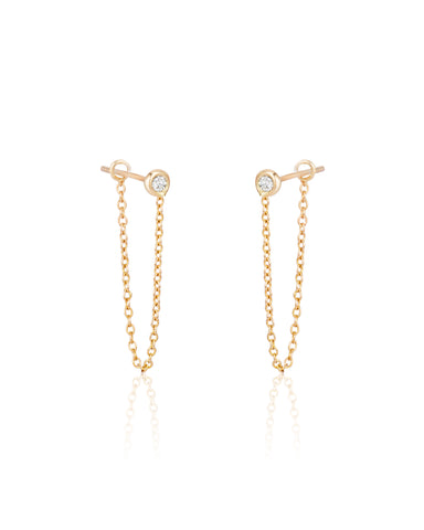 "Chain Earrings (1"" drop) with Diamonds"