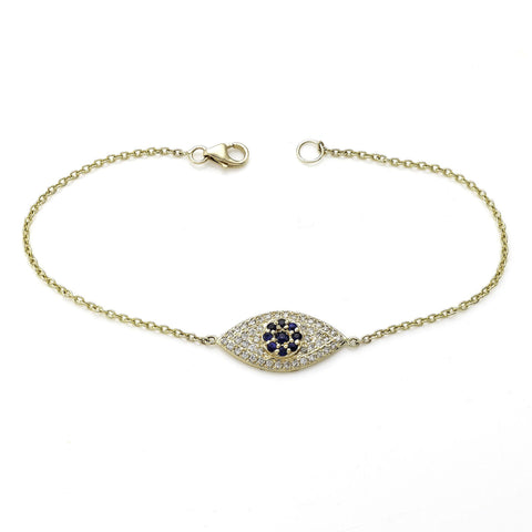 Evil Eye Bracelet with Diamonds and Blue Sapphires