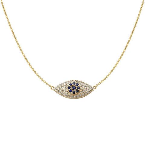 Evil Eye Necklace with Diamonds and Blue Sapphires