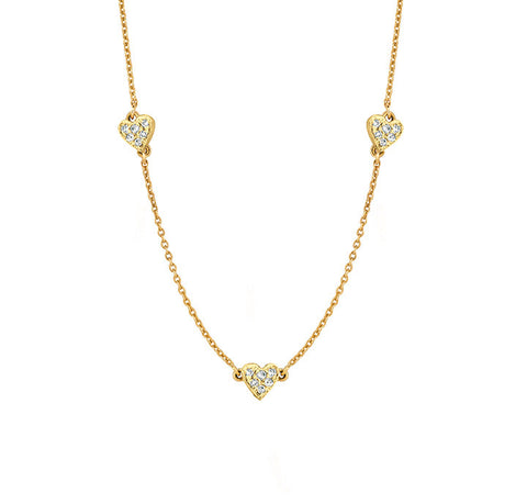 Three Pave Diamonds Heart Necklace for Soroka