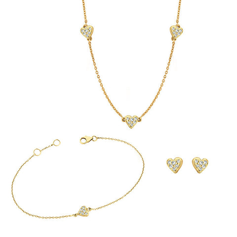Stud, Bracelet and Necklace Heart Set for Soroka