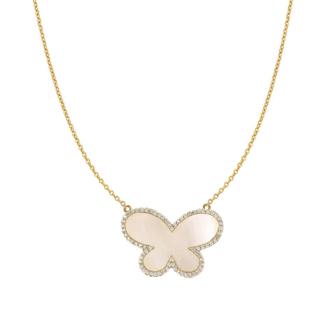 Large Mother of Pearl Diamond Butterfly Necklace