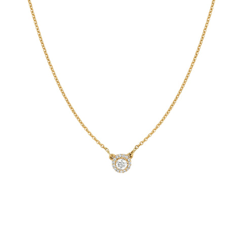 Diamond Solitaire with Pave Diamonds Necklace
