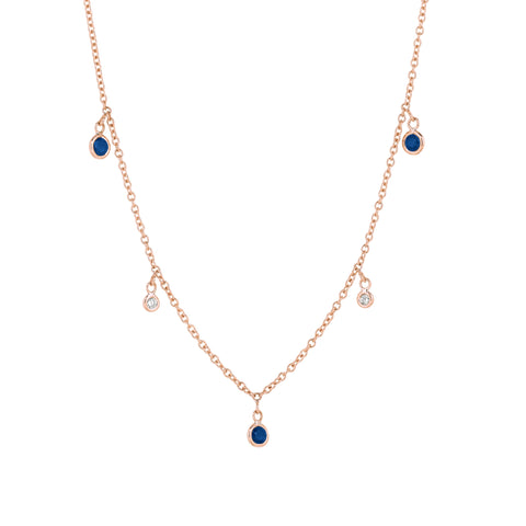 Diamonds and Blue Sapphires Dangle Necklace
