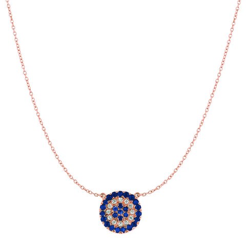 Diamonds and Blue Sapphires Disc Necklace