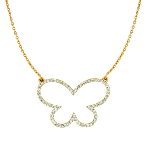 Large Diamond Butterfly Necklace