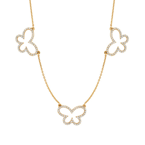 Three Medium Diamond Butterflies Necklace