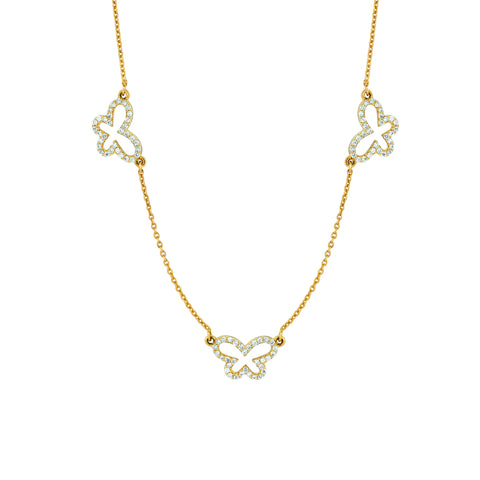 Three Small Diamond Butterflies Necklace