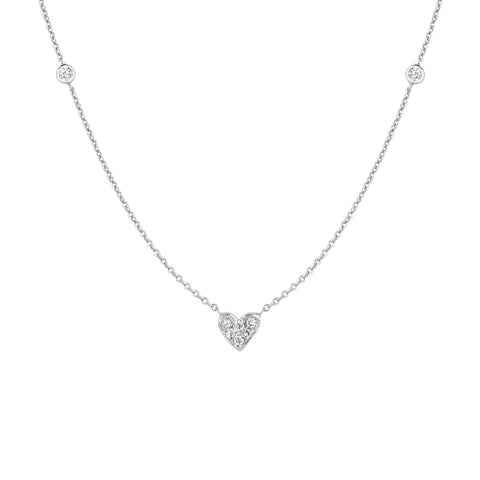 Diamond Heart and Two Side Diamonds Necklace