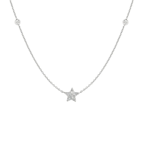 Diamond Star and Two Side Diamonds Necklace