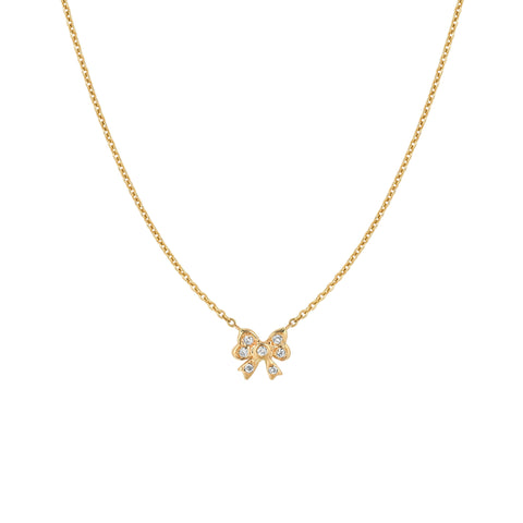 Small Diamond Bow Necklace