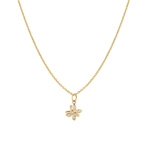 Mini Hanging Diamond Butterfly Necklace