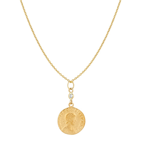 Small Coin and Diamond Necklace