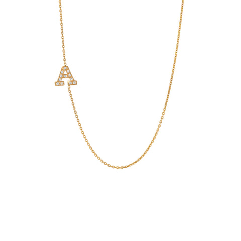 Diamond Side Initial Necklace