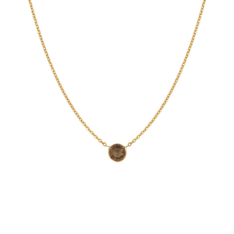 Smokey Topaz Solitaire Necklace