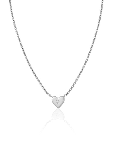 Gold Heart with One Diamond Necklace