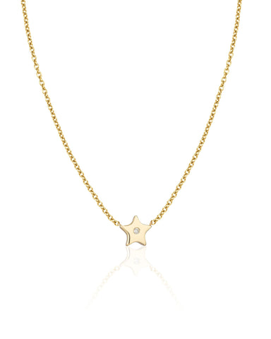 Gold Star with One Diamond Necklace