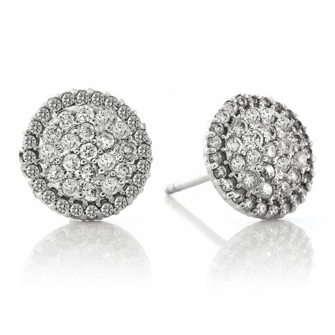 Pave Diamonds Domed Disc Earrings
