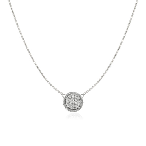 Pave Diamonds Domed Disc Necklace