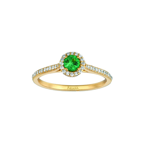 Emerald Center with Pave Diamonds Ring
