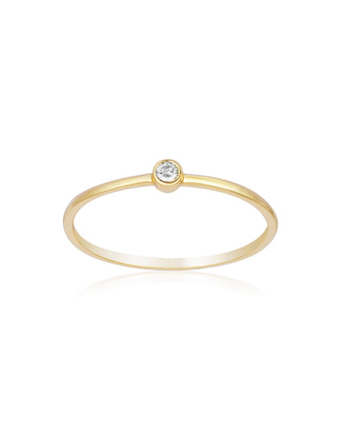 Yellow Gold Single Diamond Ring