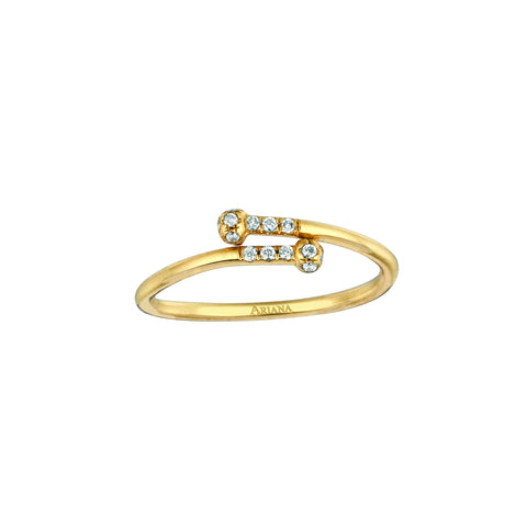Double Roll with Diamonds Ring