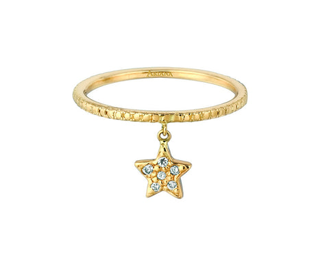 Diamond Dangle Star Ring