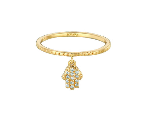 Diamond Dangle Hamsa Ring