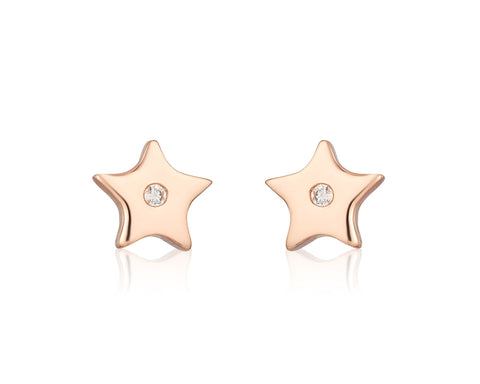Gold Stars with Diamonds Stud Earrings