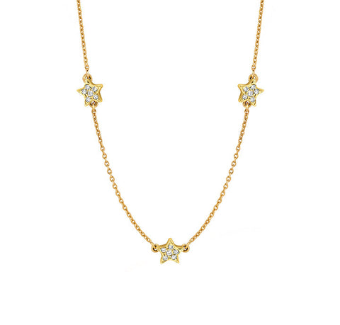 Three Pave Diamonds Star Necklace for Soroka