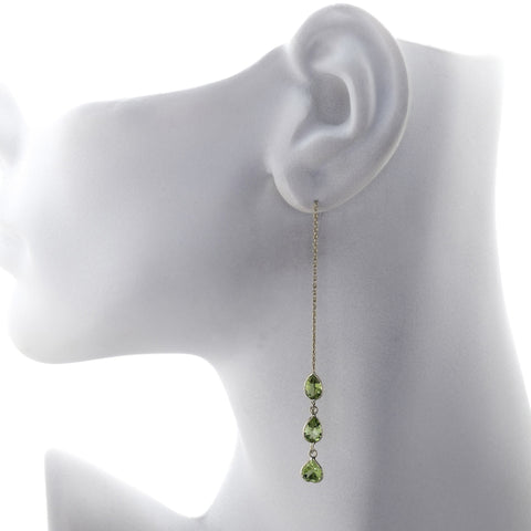 Three Pear Shape Peridot Threader Earrings
