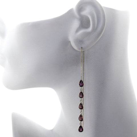 Five Pear Shape Garnets Threader Earrings