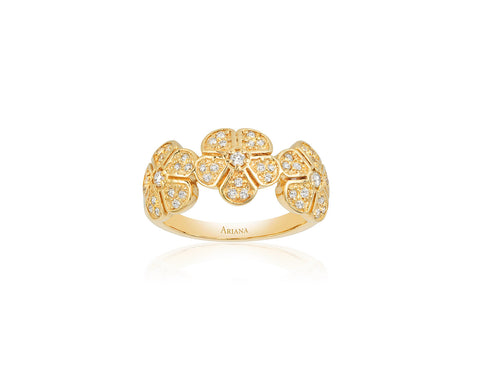 Three Diamond Flower Ring