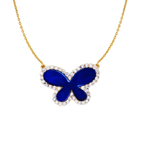 Medium Diamond with Lapis Butterfly Necklace