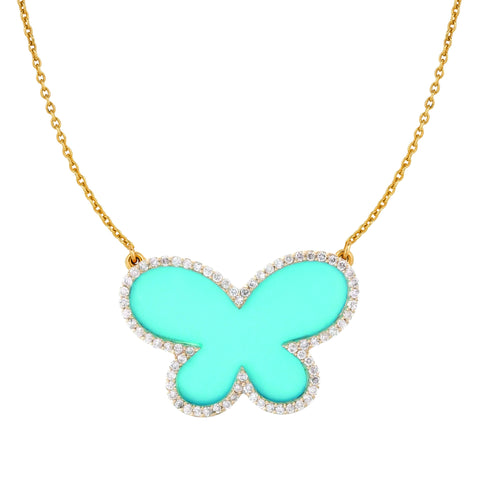 Large Diamond with Turquoise Butterfly Necklace