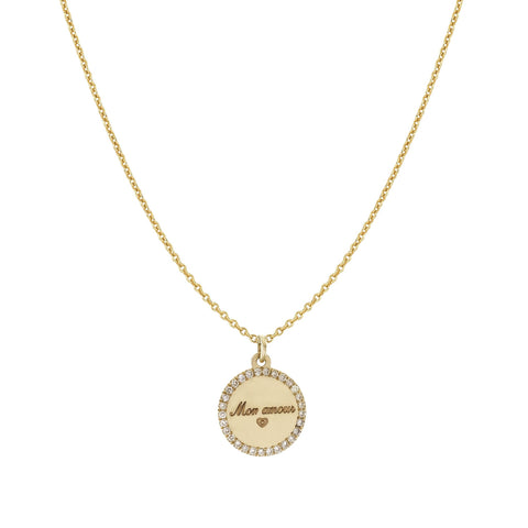 Disc and Halo Diamond Necklace (personalized)